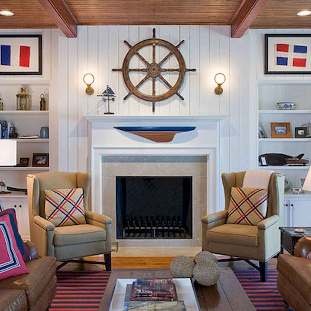 70 Cool and Clean Coastal Living Room Decorating Ideas (26)