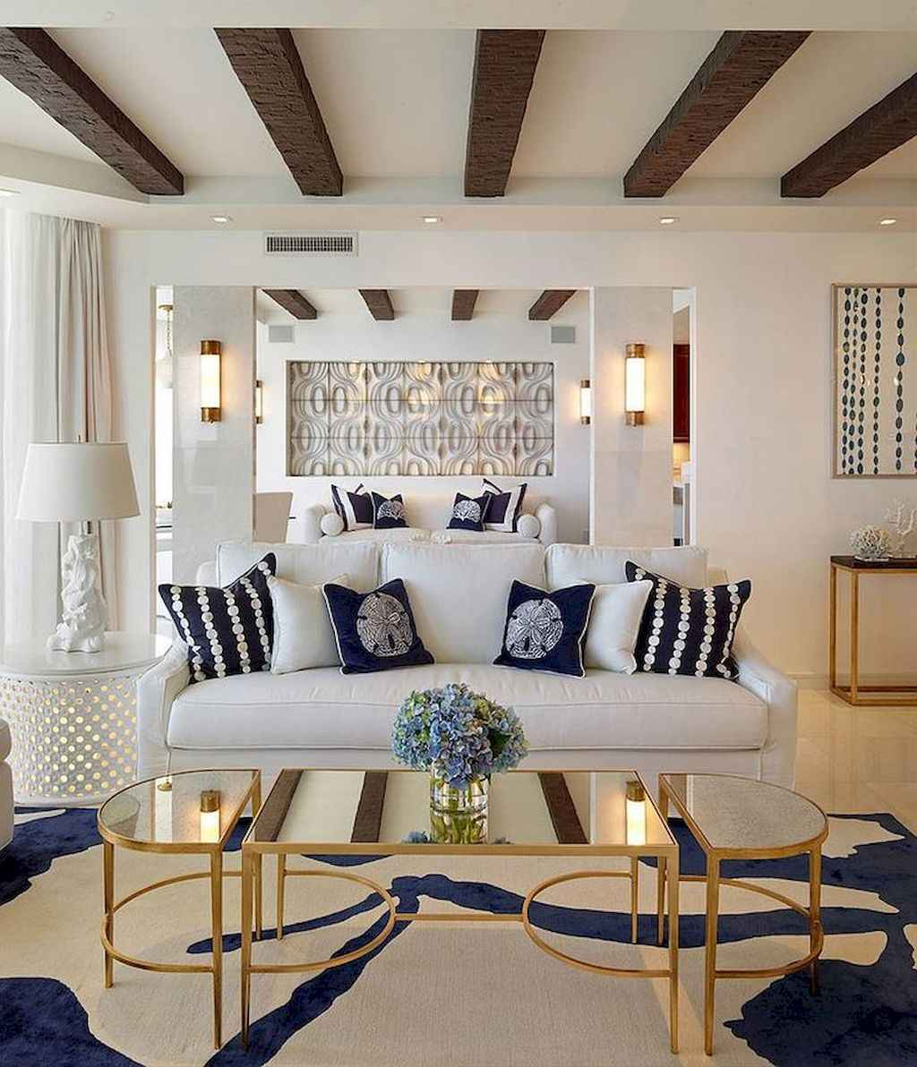 70 Cool and Clean Coastal Living Room Decorating Ideas (42 ...
