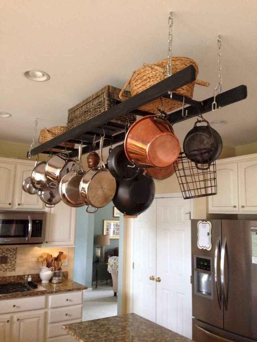 80 Incredible Hanging Rack Kitchen Decor Ideas (38)