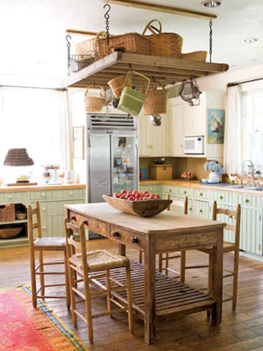 80 Incredible Hanging Rack Kitchen Decor Ideas (40)