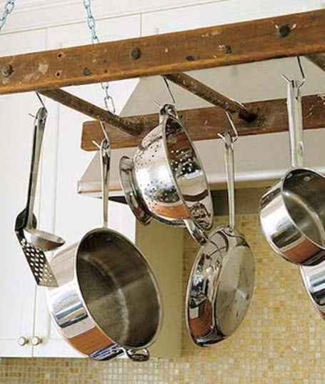 80 Incredible Hanging Rack Kitchen Decor Ideas (53)