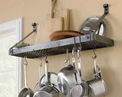 80 Incredible Hanging Rack Kitchen Decor Ideas (8)