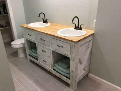50 Amazing Farmhouse Bathroom Vanity Decor Ideas (19)