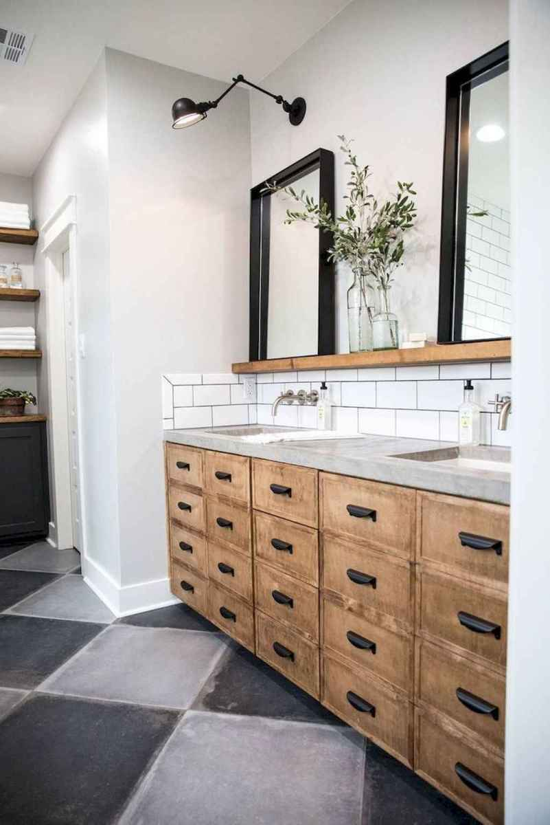 50 Amazing Farmhouse Bathroom Vanity Decor Ideas (94)