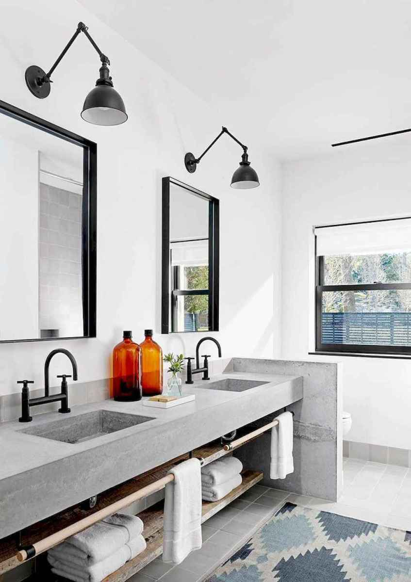 50 Amazing Farmhouse Bathroom Vanity Decor Ideas (98)