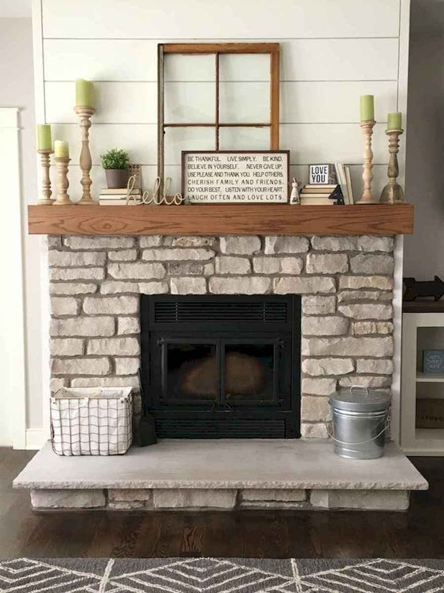 40 Awesome Fireplace Makeover For Farmhouse Home Decor (20)