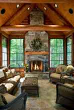 60 Stunning Log Cabin Homes Fireplace Design Ideas (16)