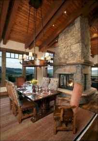 60 Stunning Log Cabin Homes Fireplace Design Ideas (18)