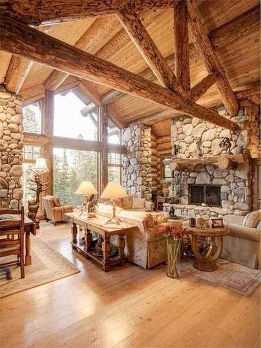 60 Stunning Log Cabin Homes Fireplace Design Ideas (2)