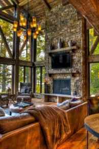 60 Stunning Log Cabin Homes Fireplace Design Ideas (20)