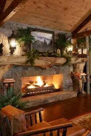 60 Stunning Log Cabin Homes Fireplace Design Ideas (26)