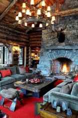 60 Stunning Log Cabin Homes Fireplace Design Ideas (29)