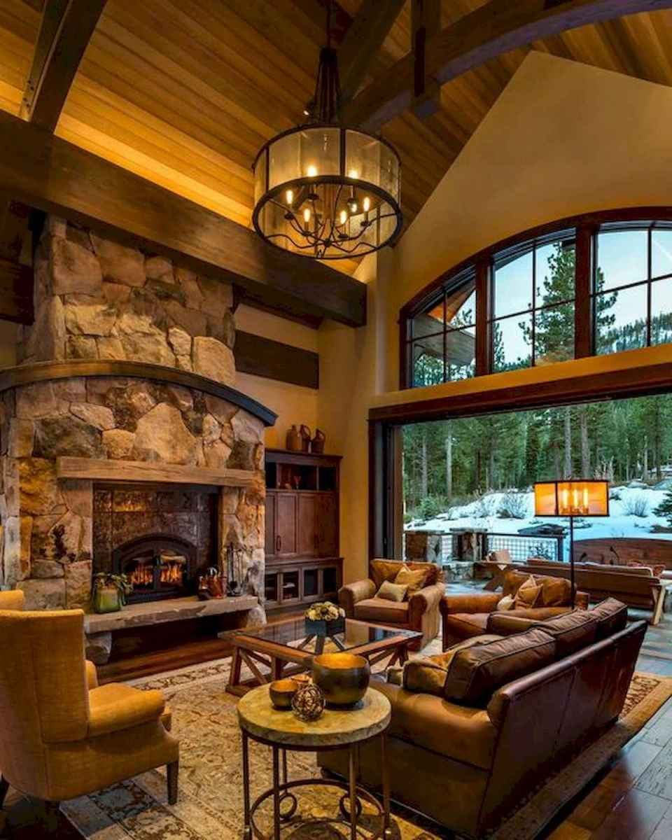 60 Stunning Log Cabin Homes Fireplace Design Ideas (39)