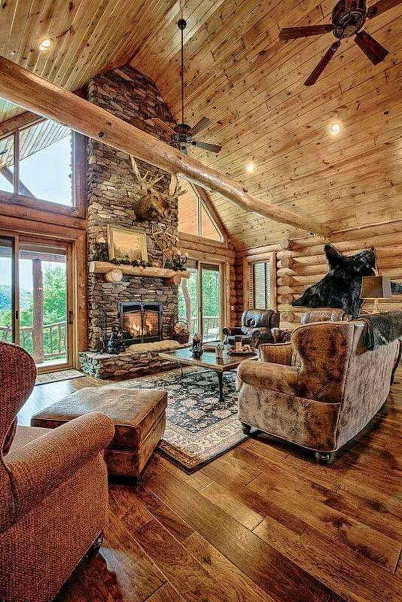 60 Stunning Log Cabin Homes Fireplace Design Ideas (43)