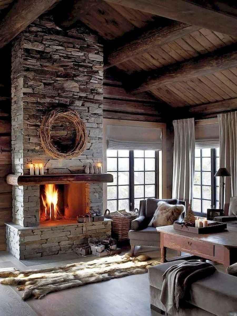 60 Stunning Log Cabin Homes Fireplace Design Ideas (48)