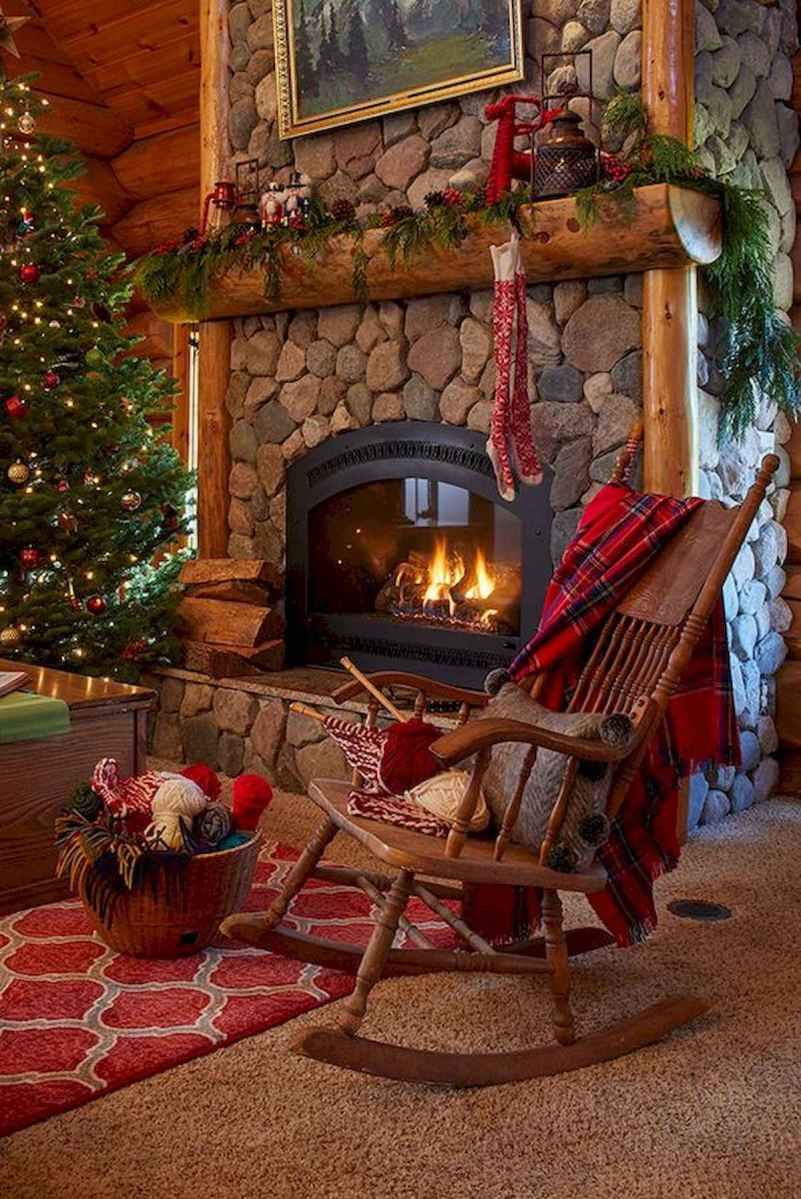 60 Stunning Log Cabin Homes Fireplace Design Ideas (55)