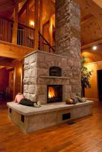 60 Stunning Log Cabin Homes Fireplace Design Ideas (57)