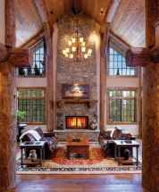 60 Stunning Log Cabin Homes Fireplace Design Ideas (8)