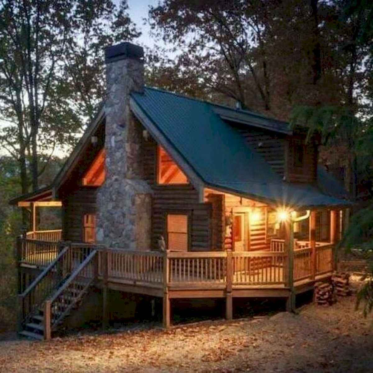 70 Fantastic Small Log Cabin Homes Design Ideas (8)