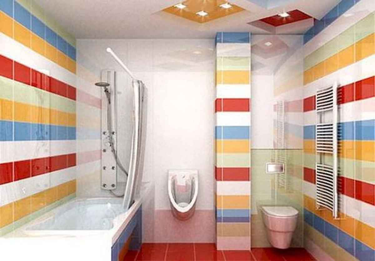 70+ Cool Colorful Bathroom Decor Ideas And Remodel for Summer Project (71)