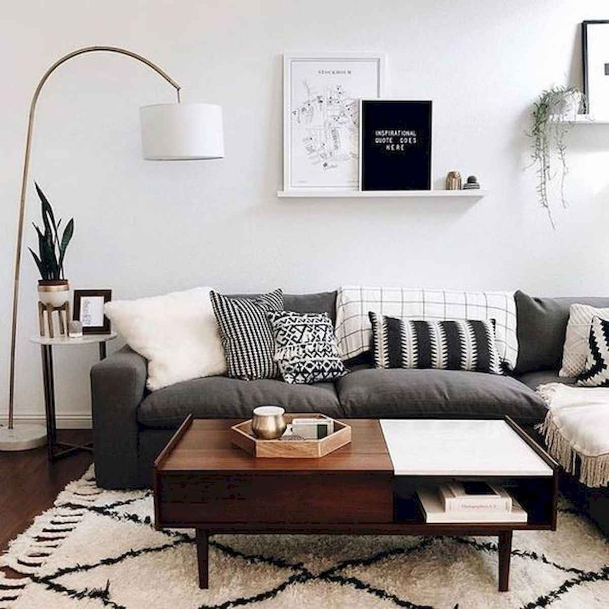 70 Stunning Grey White Black Living Room Decor Ideas And Remodel (17)
