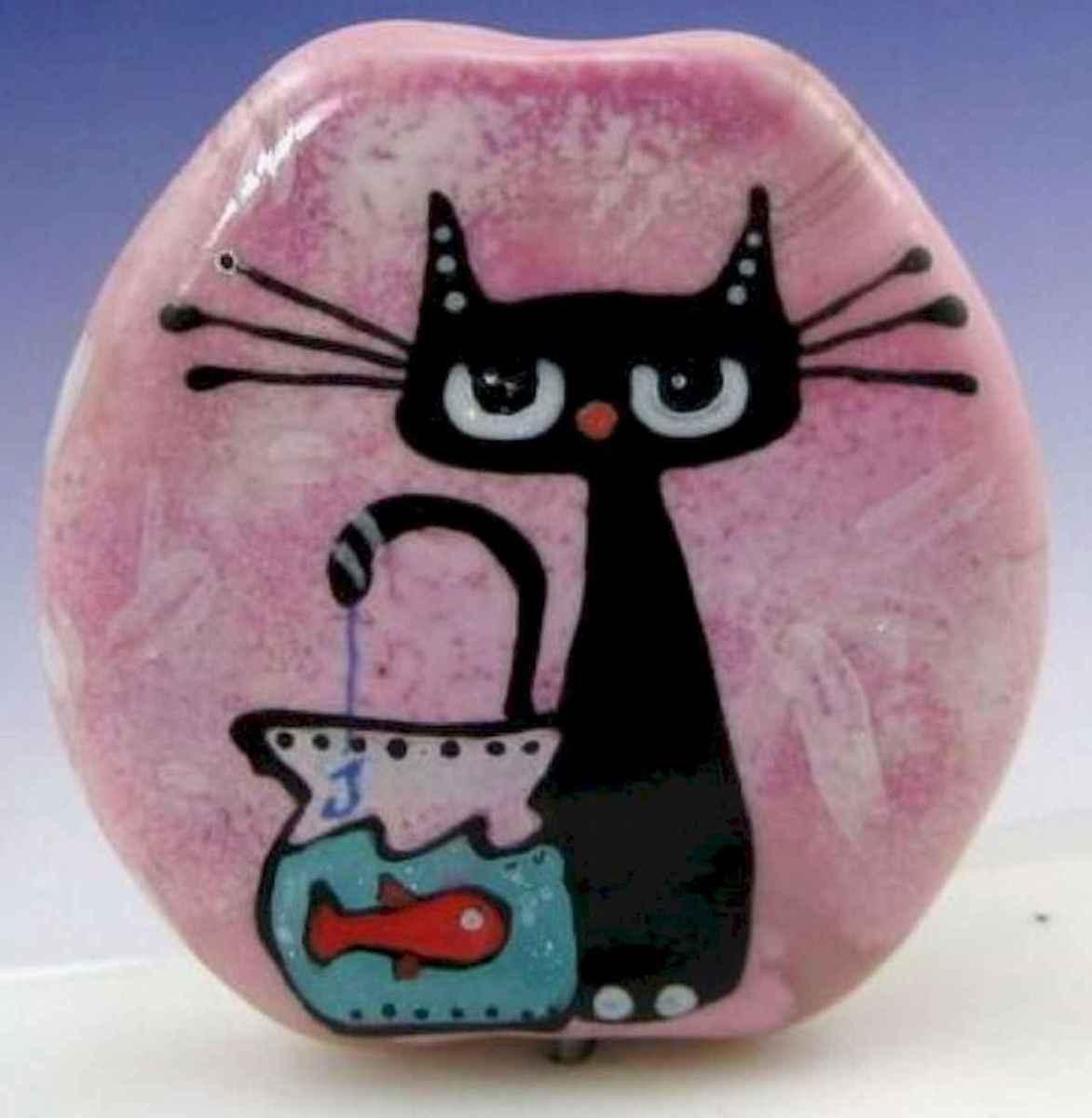 50 Inspiring DIY Painted Rocks Animals Cats for Summer Ideas (1)
