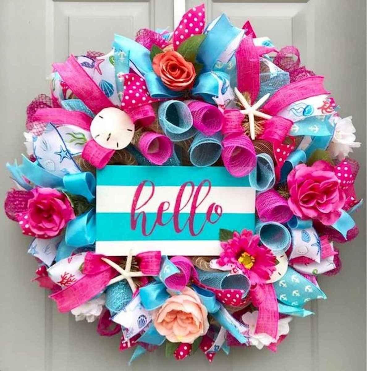 60 Beautiful Front Door Summer Wreath Decor Ideas (26)