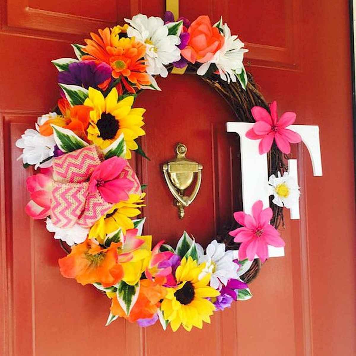 60 Beautiful Front Door Summer Wreath Decor Ideas (55)