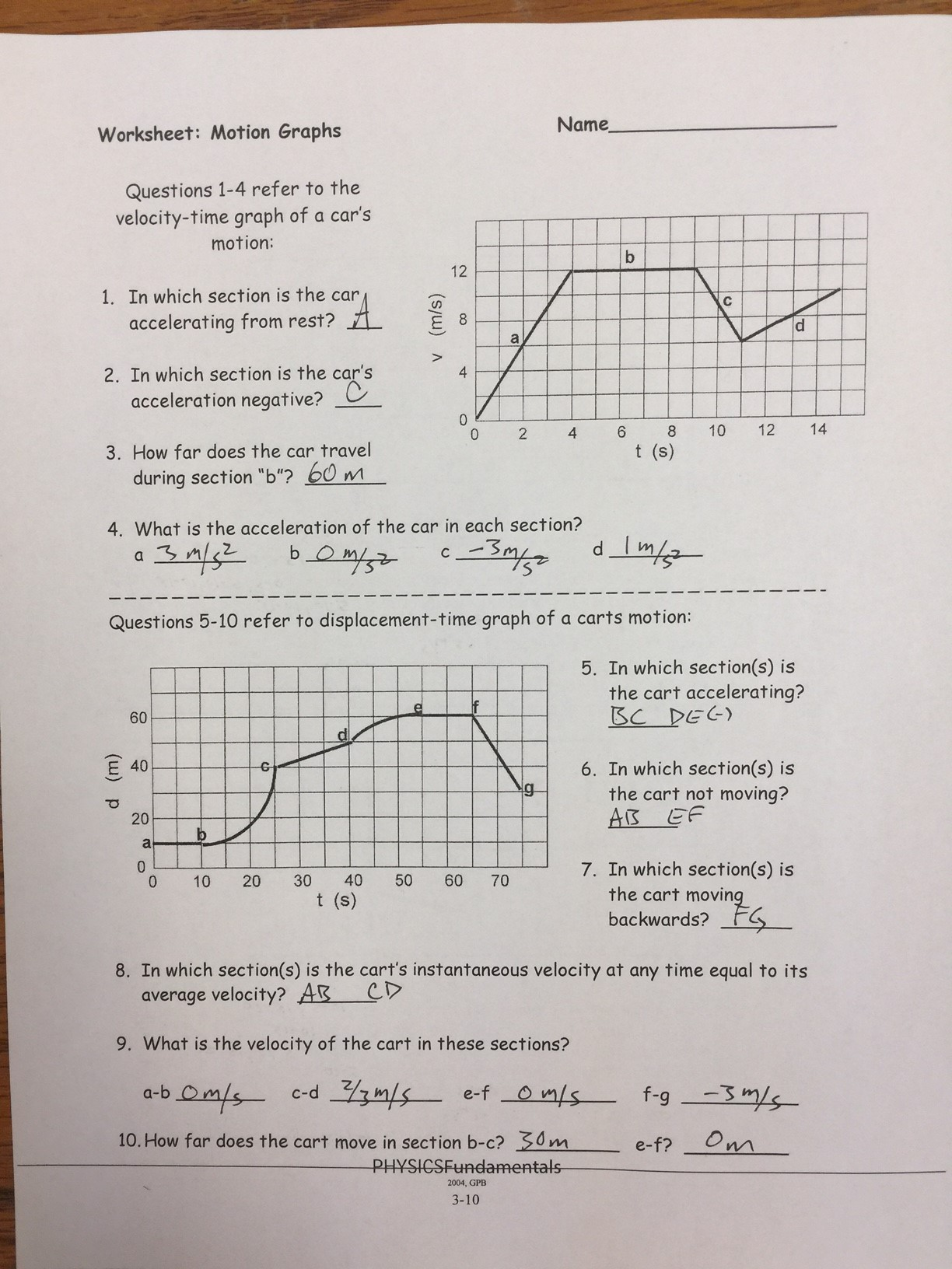 33 Describing Motion With Position Time Graphs Worksheet