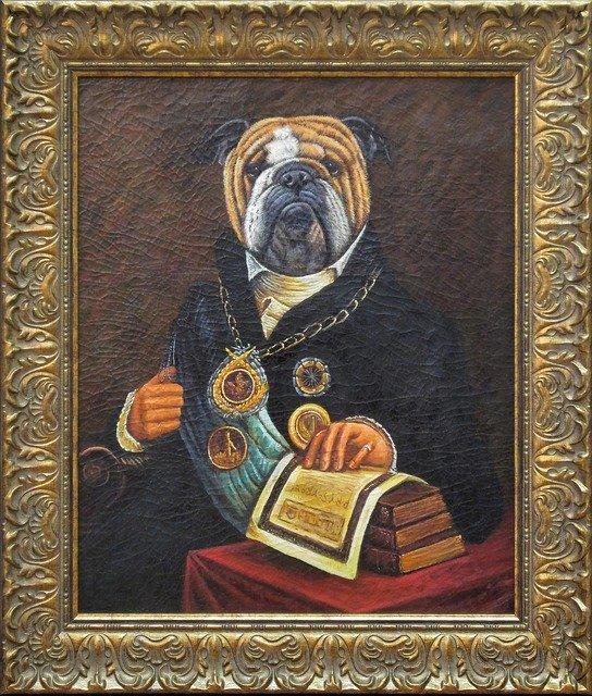 antiquiertes Bild im goldenen Rahmen: Hund mit Urkunden und Auszeichnungen