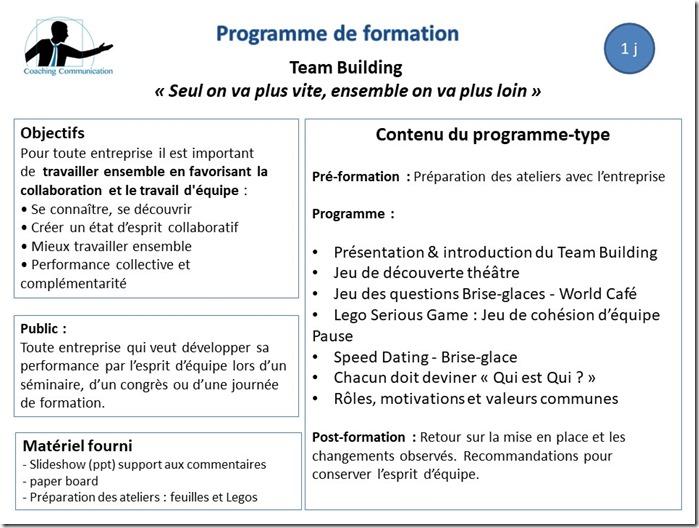 Programme de formation Team building
