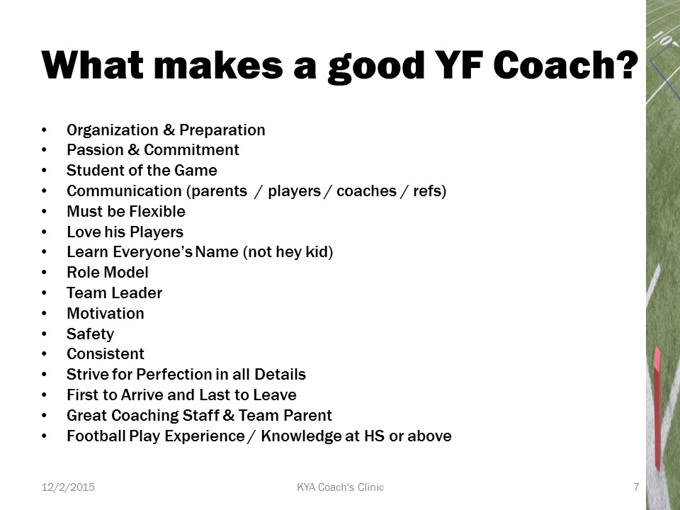 What makes a good youth football coach?