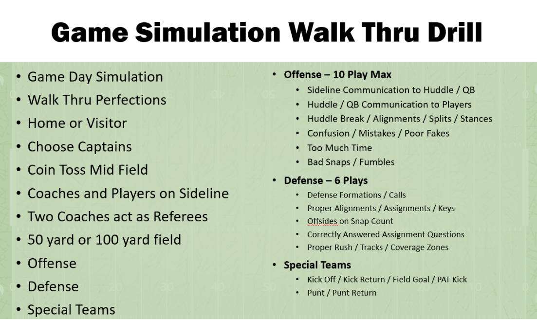 youth football drills - game simulation walk thrus