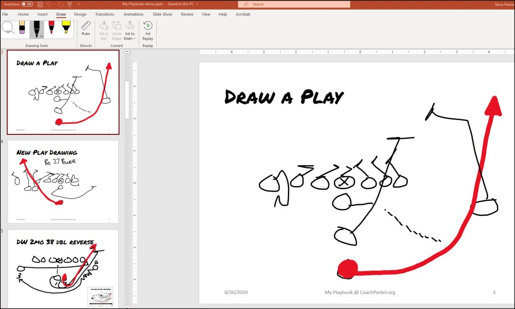 drawing football plays in powerpoint
