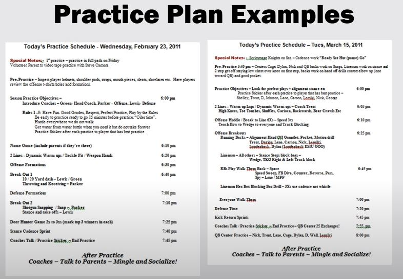 youth football practice plans examples