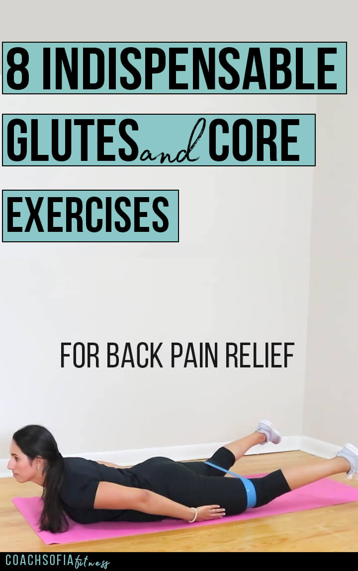8 indispensable glutes and core exercises to help alleviate back pain, piriformis syndrome and hip pain. Exercises to alleviate low back pain, sciatica, piriformis syndrome and back pain | joint pain