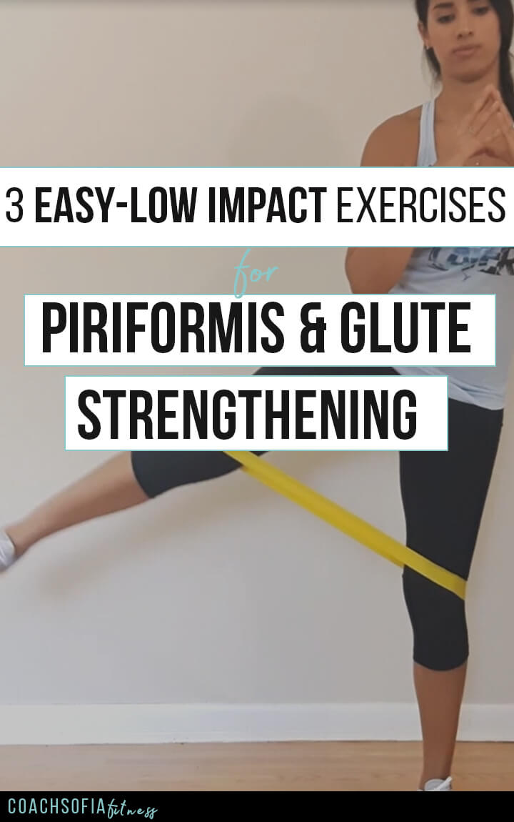 3 Easy low impact exercises for piriformis and glute strengthening. These are rehab exercises to help you activate the glute medius muscle and mobilize the piriformis muscle. You don't NEED a loop band, you can do this workout with your own bodyweight.