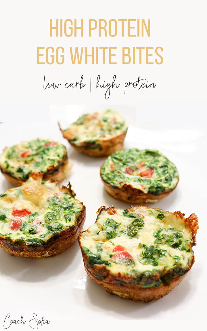 You will LOVE these high protein egg whites. They are high in protein, low in carb, gluten-free and packed with green and veggies. Baked under 20 minutes and a wonderful high protein snack to add to your nutrition.