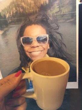 Flat Alexis enjoys some coffee