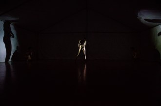 """Images from """"NO PLAN B,"""" a cross genre collaboration between Alison Chase / Performance and the Coaction Lab (Gene Felice) 2017"""
