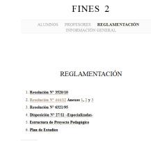 Reglamentación - FINES 2