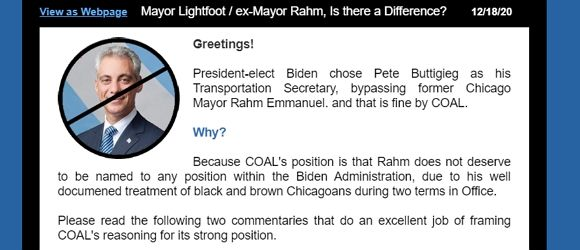 COAL News - Mayor Lightfoot / ex-Mayor Rahm, Is there a Difference?