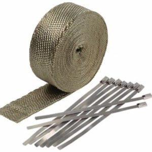titanium exhaust wrap kit 2 inch x 50 ft roll w 8 stainless steel zip ties