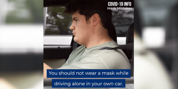 wearing a mask alone in the car