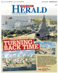 """""""Turning Back Time"""" Front Page of Newcastle Herald, Thursday April 20, 2017."""