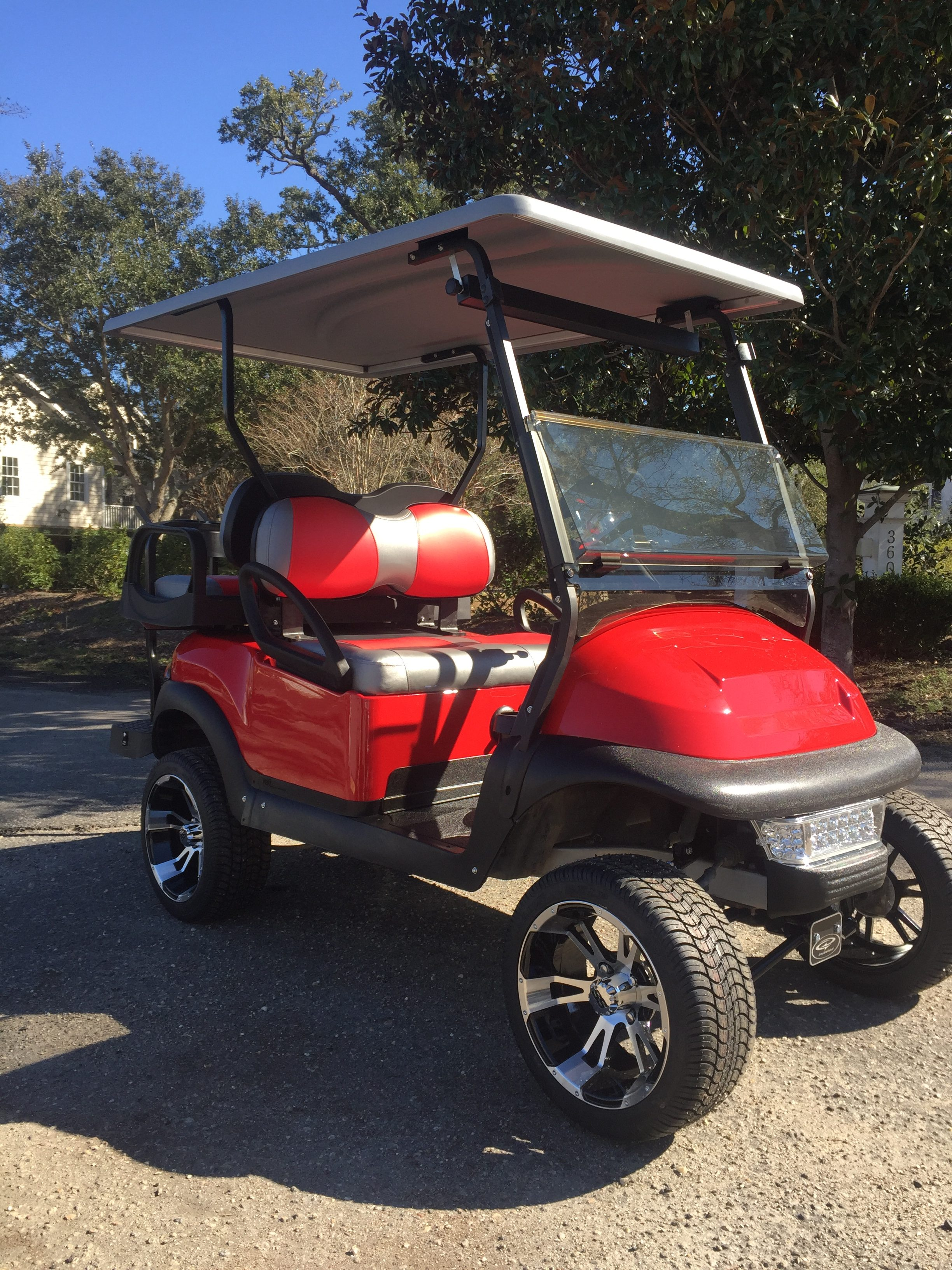 Custom Golf Cart Red Lifted