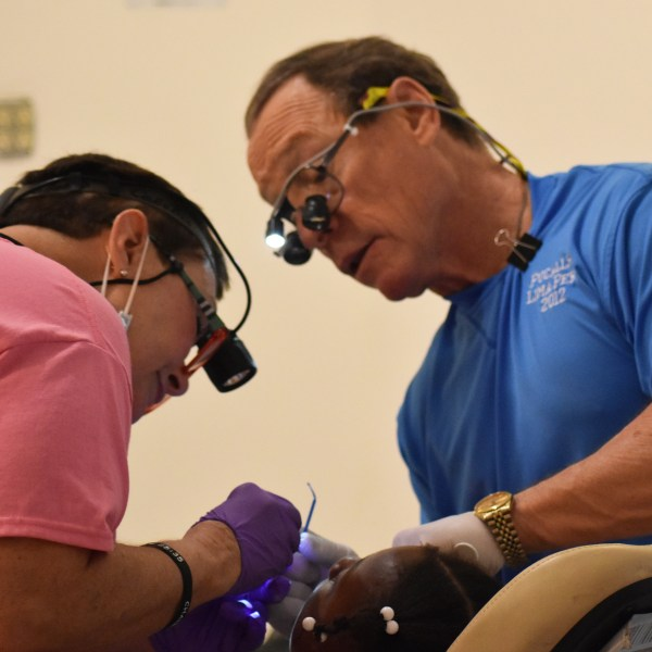 dentists examining patient