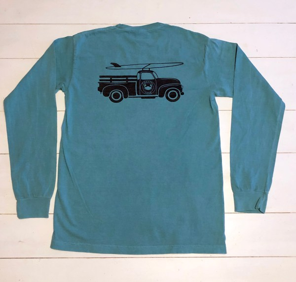 Adult Long Sleeve T-Shirt Seafoam with Navy Truck