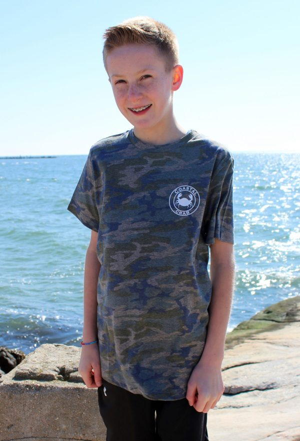 Youth camo t-shirt white imprint