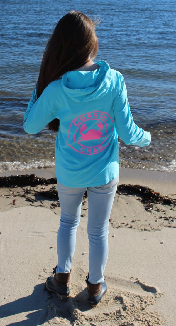 Adult Long Sleeve Hooded T-Shirt Turquoise with Pink